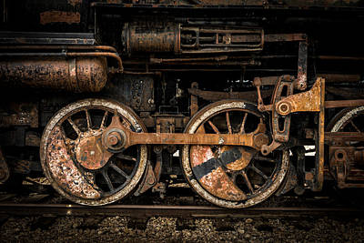 Locomotive Wheels Photograph - Train Wheels With Connecting Rods by TL  Mair