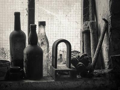 Window Sill Photograph - Train Yard Window by Dave Bowman