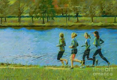 Runner Painting - Training In Group by Alejandro Maldonado