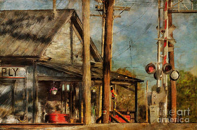 Train's Coming - Berryville Farm Supply Print by Lois Bryan