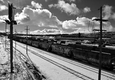 Train In The Winter Photograph - Trains In Winter-black And White by Brian Orion
