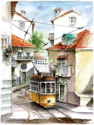Tram 28 At Graca Lisbon  Print by Elena Petrova Gancheva