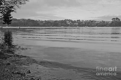 Tranquil River Fal In Black And White Print by Terri Waters