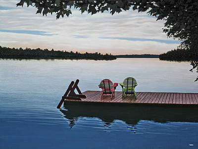 Canoe Painting - Tranquility by Kenneth M  Kirsch
