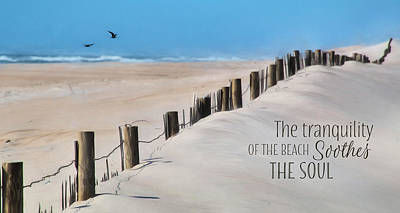 Sand Fences Digital Art - Tranquility Of The Beach by Lori Deiter