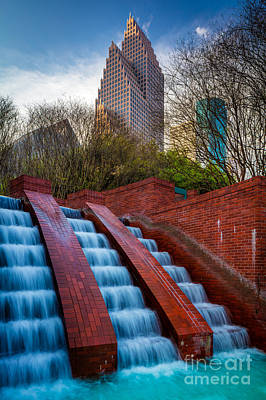 Tranquility Park Fountain Print by Inge Johnsson