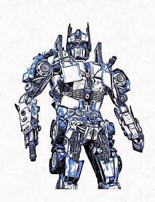 Prime Drawing - Transformers Optimus Prime Or Orion Pax Graphic  by Edward Fielding