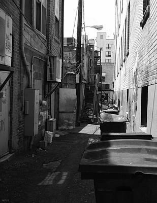 University Of Michigan Digital Art - Trash Cans In Alley by Phil Perkins