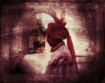Travel Exotic Waiter Portrait Monochrome Mehrangarh Fort India Rajasthan 2c Print by Sue Jacobi