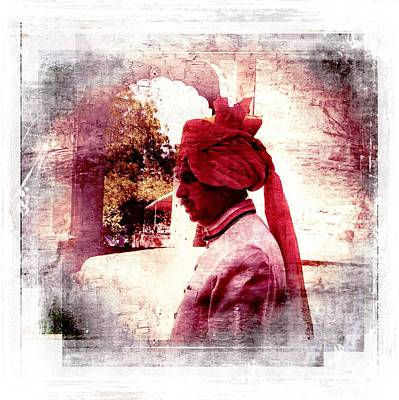 Travel Exotic Waiter Portrait Square Mehrangarh Fort India Rajasthan 2d Print by Sue Jacobi