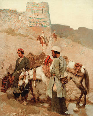 Donkey Painting - Traveling In Persia by Edwin Lord Weeks