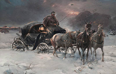 Snowy Night Painting - Traveller On A Winter Night by Alfred Kowalski