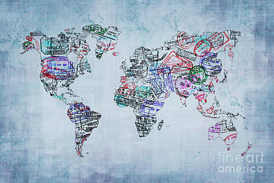 Creation Digital Art - Traveler World Map by Delphimages Photo Creations