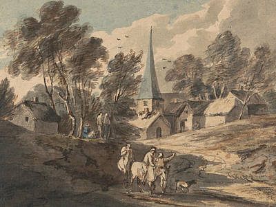 18th Century Painting - Travellers On Horseback Approaching A Village With A Spire  by Thomas Gainsborough