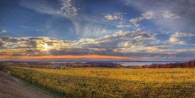 Winery Photograph - Traverse City From Old Mission At Sunset by Twenty Two North Photography