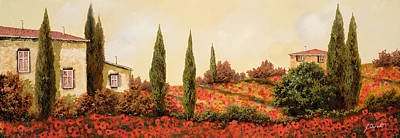 Landscape Painting - Tre Case Tra I Papaveri by Guido Borelli