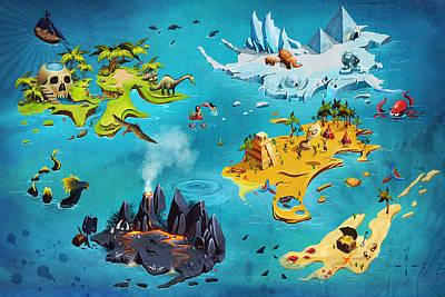 Dinosaur Map Digital Art - Treasure Map by Anastasiia
