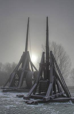 Throw Photograph - Medieval Village - Trebuchets  by Jan Boesen