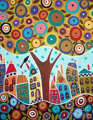 Tree Eight Houses And A Bird Print by Karla Gerard