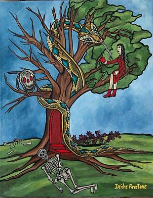 Religious Art Painting - Tree Of Life Temptation And Death by Deidre Firestone