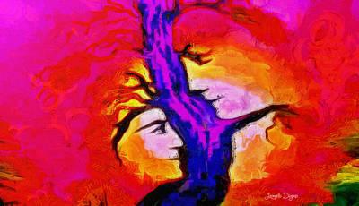 Bull Digital Art - Tree Of Memories - Da by Leonardo Digenio