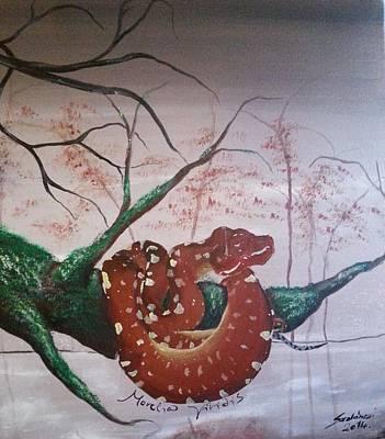 Tree Python On The Lake Print by Judit Szalanczi