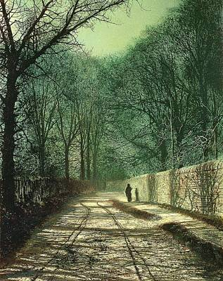 Figures Painting - Tree Shadows In The Park Wall by John Atkinson Grimshaw
