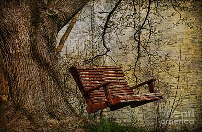 Tree Swing By The Lake Print by Deborah Benoit