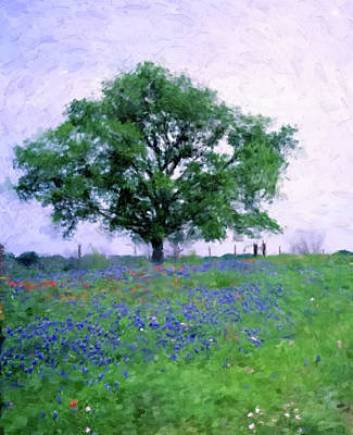 Digital Art - Tree With Bluebonnets by Gary Grayson