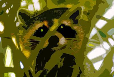 Raccoon Digital Art - Treed Raccoon by David Lee Thompson