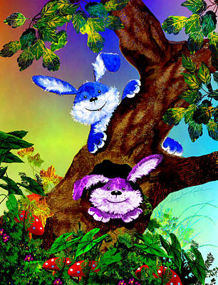 Treehouse Painting - Treehouse Bunnies by Hanne Lore Koehler
