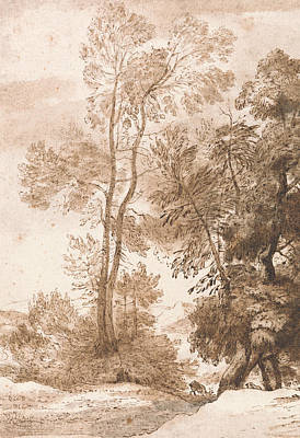 Deer Drawing - Trees And Deer by John Constable