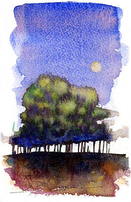 Trees At Moon Rise Print by John D Benson