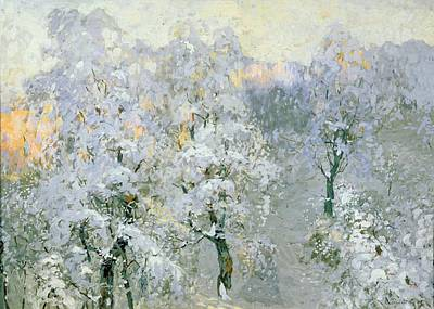 1876 Painting - Trees In Wintry Silver by Konstantin Ivanovich Gorbatov