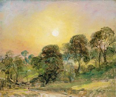 Heath Painting - Trees On Hampstead Heath At Sunset by John Constable