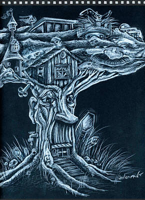 Treehouse Painting - Treetop Doodle by Jon Griffin