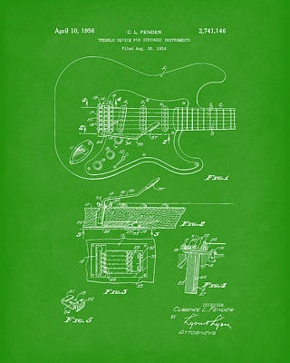 Guitar Drawing - Tremolo Device 1956 Patent Art Bright Green by Prior Art Design