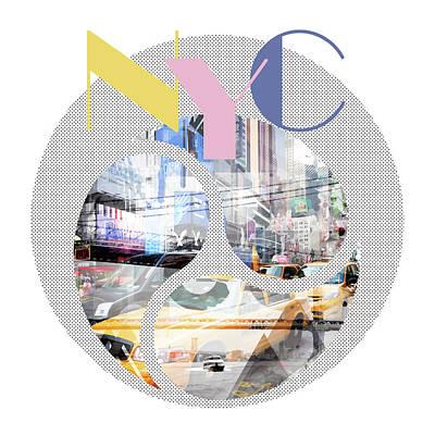 Times Square Digital Art - Trendy Design New York City Geometric Mix No 1 by Melanie Viola
