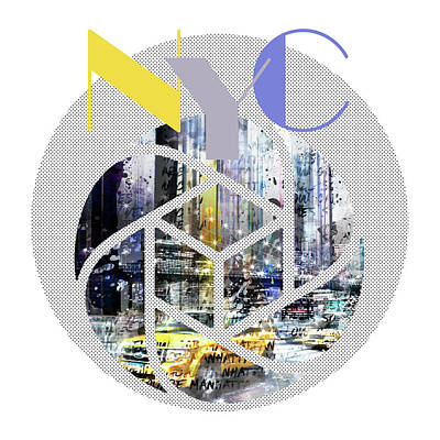 Times Square Digital Art - Trendy Design New York City Geometric Mix No 3 by Melanie Viola