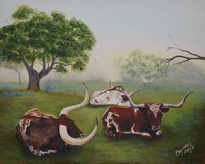 Steer Painting - Tres Amigos by Belinda Nagy