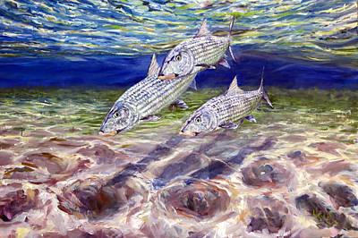 Fish Underwater Painting - Tres Amigos by Glen Hacker