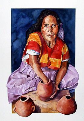 Tres Ollas Print by Linda  Marie Carroll