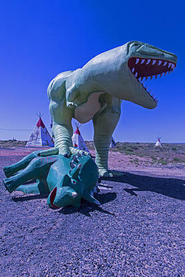 Weatherworn Photograph - Trex And Triceratops  by Garry Gay