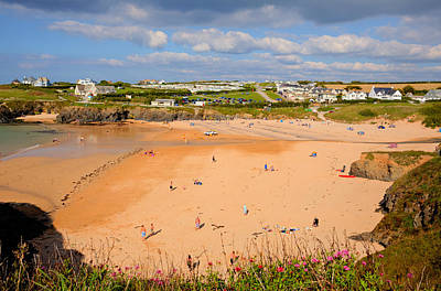 Treyarnon Bay Beach Cornwall England Uk Cornish North  Print by Michael Charles