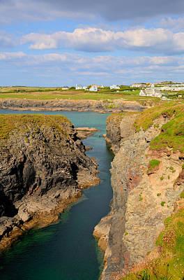 Treyarnon Bay Coast Cornwall England Uk Cornish North Colourful  Print by Michael Charles