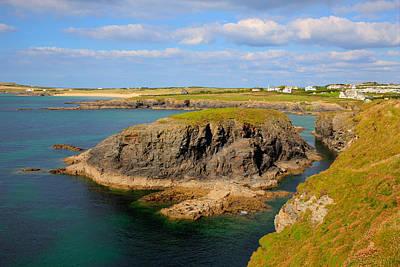 Treyarnon Bay Coast Cornwall England Uk Cornish North Colourful Scene Print by Michael Charles