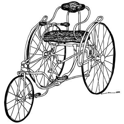 Wheel Drawing - Tri Bike by Karl Addison
