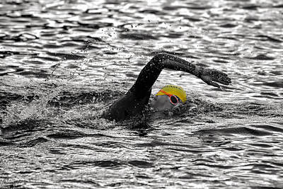Lake Photograph - Triathlon Swimmer by Ari Salmela