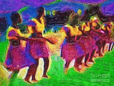Ghana Painting - Tribal Dancers by Deborah MacQuarrie-Haig