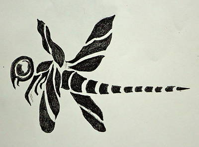 Tattoo Flash Drawing - Tribal Dragonfly by Pete Maier